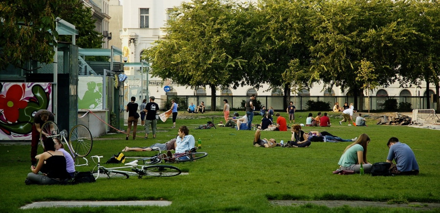 Downtown picnic in Budapest, capital of Hungary